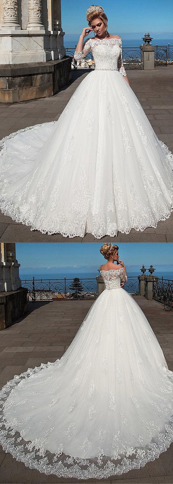 Romantic Tulle Off-the-shoulder Neckline Ball Gown Wedding Dress With Lace Appliques & Belt & Detachable Jacket