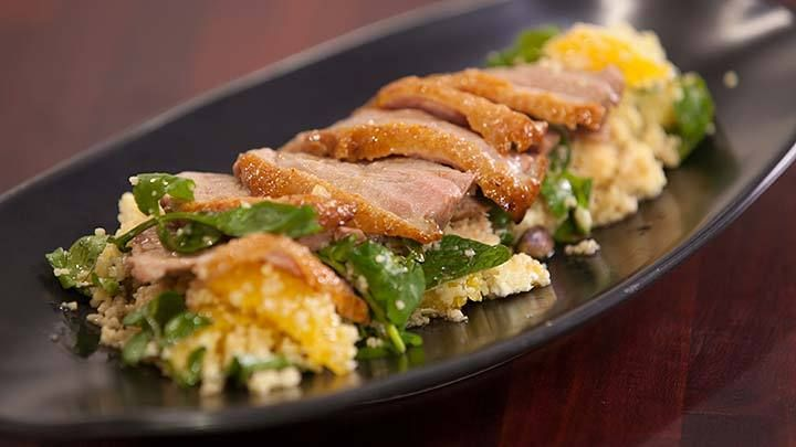 Grilled Duck with Orange, Pistachios and Couscous