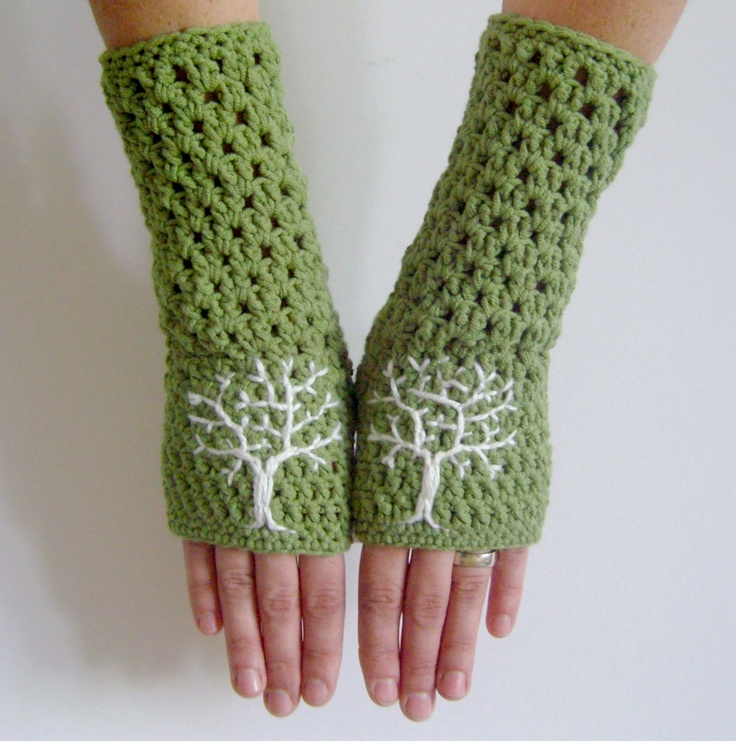 Arm Warmers with Tree Design Green and Cream - Soft embroidered fingerless gloves - via Etsy.