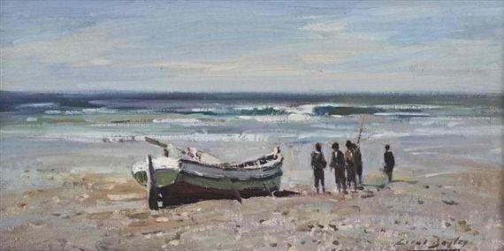 Errol Stephen Boyley - AFTER THE DAY'S CATCH, oil...