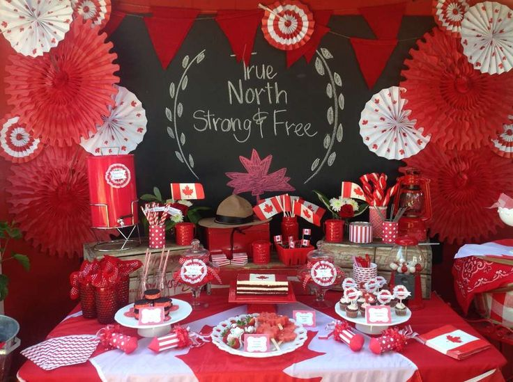 O Canada! party by CatchMyParty.com - Like the red and white paper rosettes!