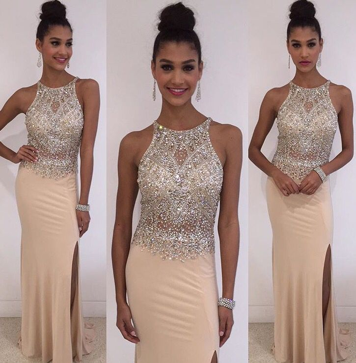Sheath Nude Jersey with beaded prom dresses halter slip on skirt formal dresses
