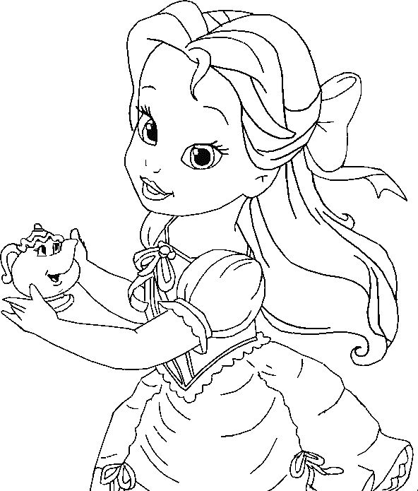 Little belle coloring for kids princess coloring pages for Little princess coloring pages