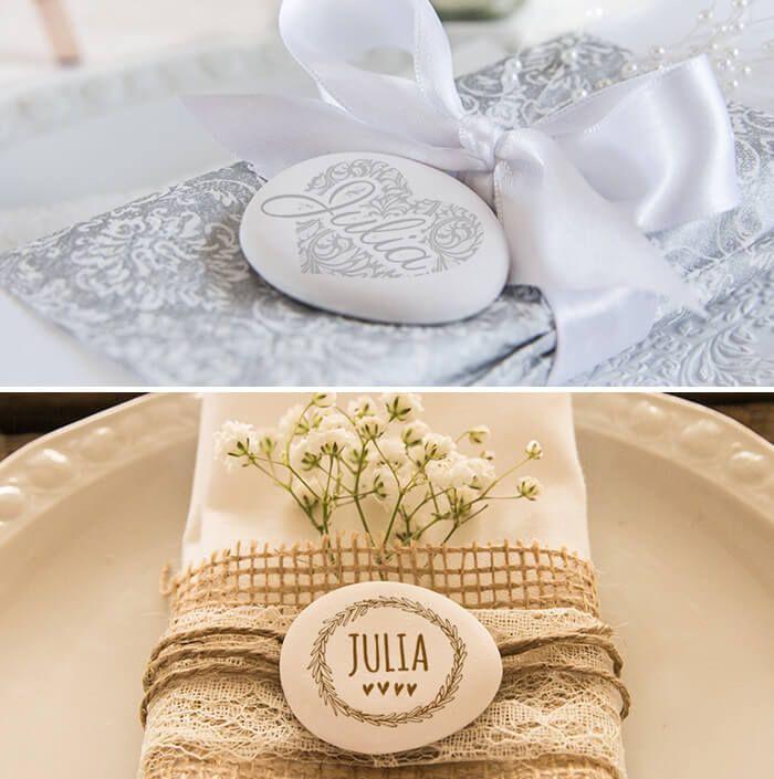 Tischkarten aus Stein könnt ihr wunderbar selbst gestalten oder die verschiedenen Designvorlagen nutzen... | Ideen | Beispiele | Anbieter