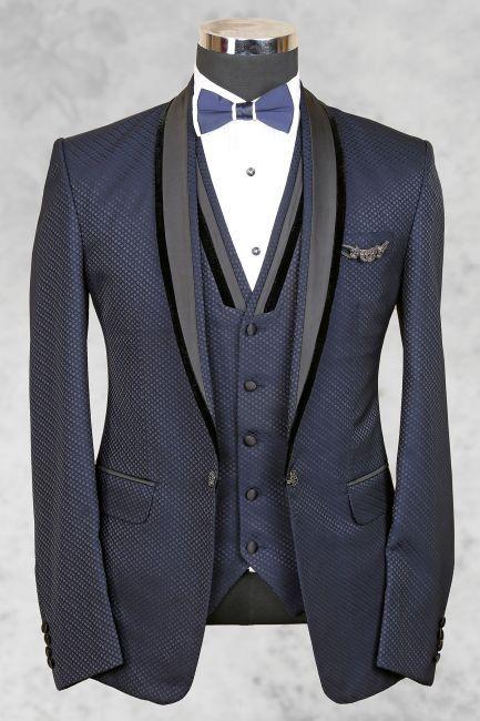 Bluish grey admirable italian suit with shawl lapel-ST455