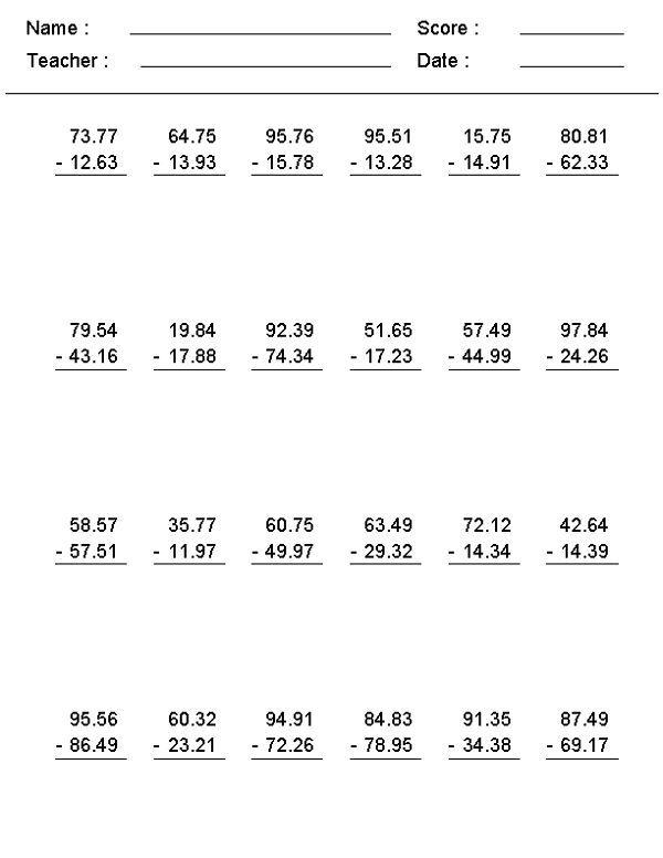 7th Grade Math Worksheets Subtraction Decimals Worksheets 7th
