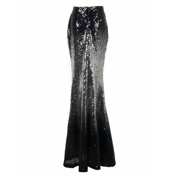 Choies Black Faded Sequins Maxi Fishtail Skirt ($40) ❤ liked on Polyvore featuring skirts, multi, long fishtail skirt, sequin maxi skirt, maxi skirt, fish tail skirt and sequin skirt