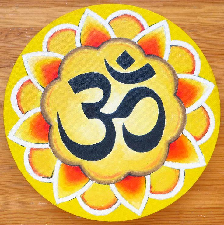 Mandala OM Symbol, Zen and Meditation, Modern Mandala, Om Mantra, Oil on Canvas, Round Canvas, Oil Painting, Hand Painted, Buddhist Art by MikiMayoShop on Etsy