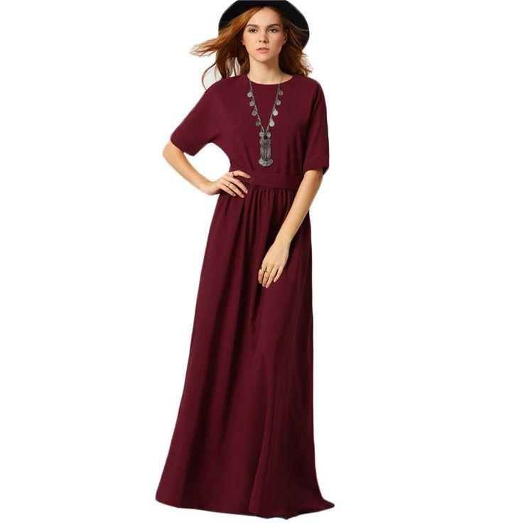 2017 Korean Designed Ladies Elegant Brand New Arrival Cute Burgundy Round Neck Maxi Dress //Price: $52.78 & FREE Shipping //     #hashtag2