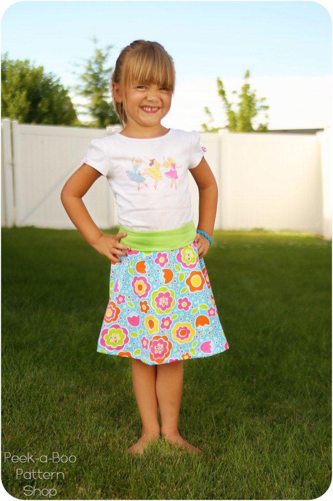 Free age 5 Skater Skirt Pattern for Girls
