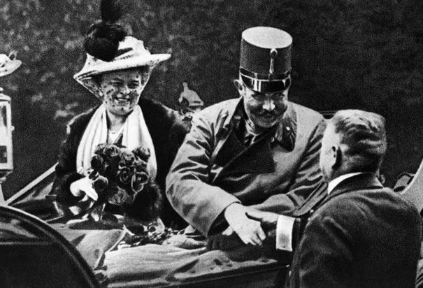 Archduke Franz Ferdinand with his wife on the day they were assassinated.