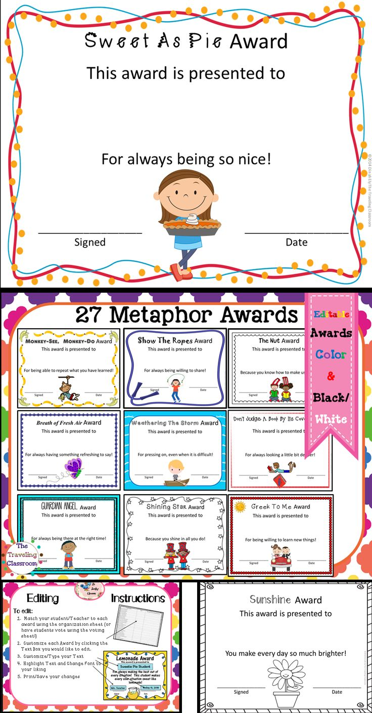 Included are 27 Unique End of the Year Metaphor Awards. These end of year awards include a voting sheet! Your students can vote using the voting sheet or you can choose them yourself. These can also be used as an excellent tool to teach the various meanings of English metaphors. Use them for students or teachers - no two awards are alike. $
