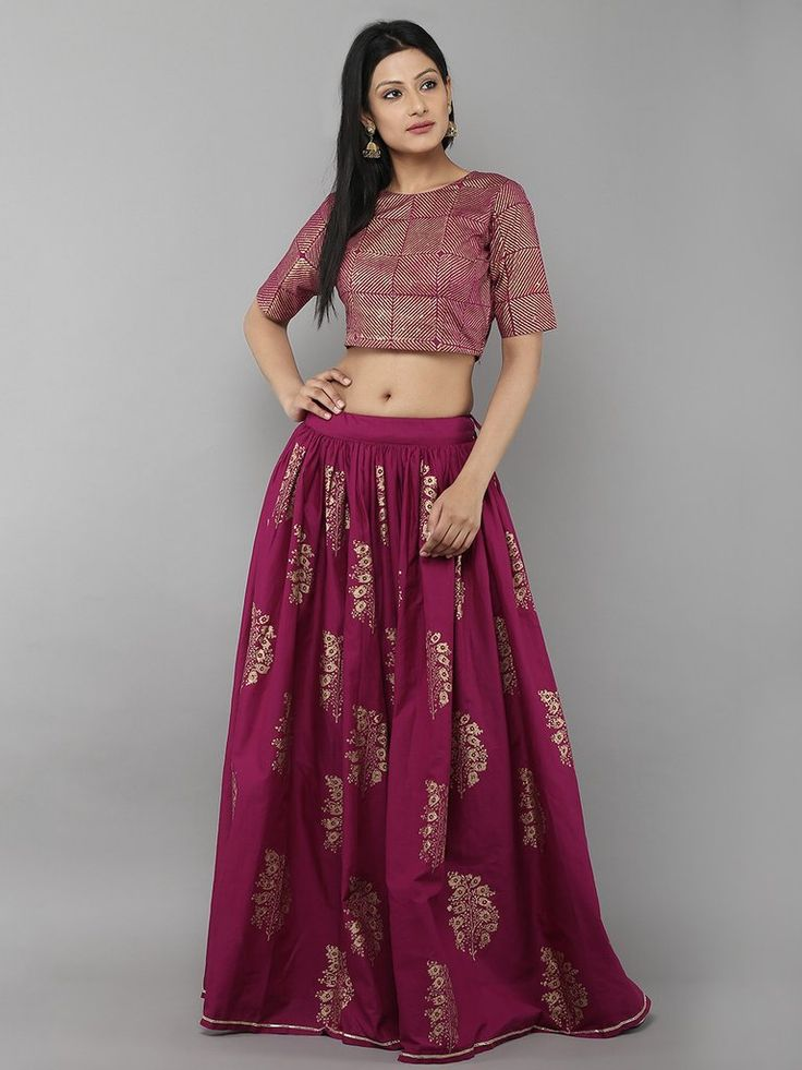 Purple Cotton Floral Printed Lehenga with Purple Unstitched Blouse - Set of 2