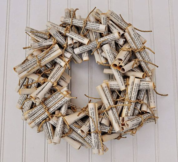 book page scroll wreath from Etsy
