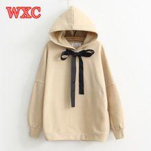 Winter Vrouwen Hoodies Harajuku Lint Boog Lange Mouwen Kaki Hooded Sweatshirt Preppy Stijl Studenten Fleece Losse Truien WXC(China)