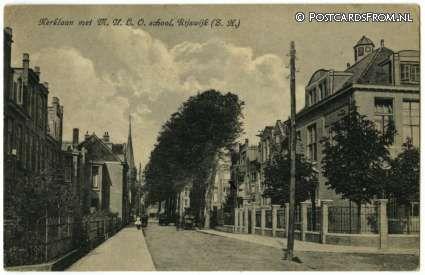 Rijswijk ZH, Kerklaan met M.U.L.O. school 1926