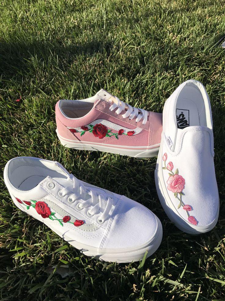 Custom Rose Embroidered Vans by FloralCraftShop on Etsy https://www.etsy.com/listing/523340504/custom-rose-embroidered-vans