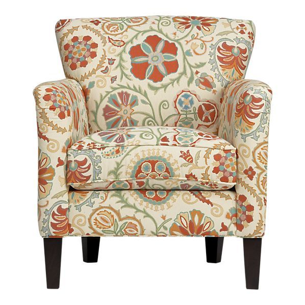Great living room chairs; would compliment and brighten a neutral decor.  Also, cozy by a fireplace.