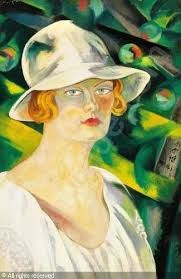 Tibor Boromisza. Woman in a white hat