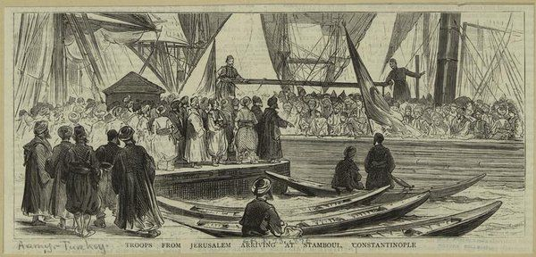 Troops from #jerusalem arriving at #Istanbul, #Constantinople.  (Mid-Manhattan Picture Collection) #history #turkey