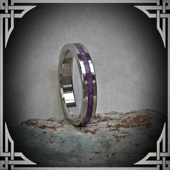 Thin Titanium Ring with Violet Jade Inlay. Woman's Ring handmade by AncientWorks1 on etsy.com