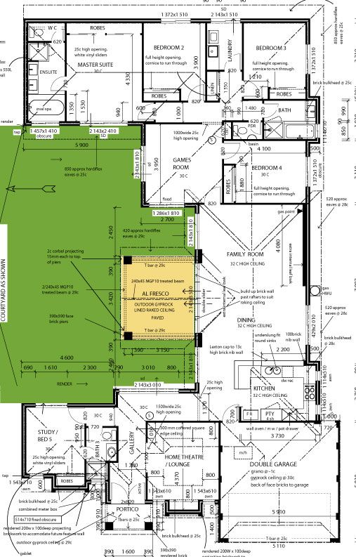 Courtyard House Home Floor Plan Plans - Distinctive House Plans.com