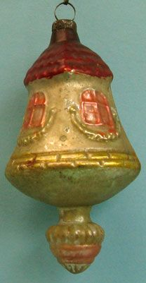 1920's blown glass windmill with drop finial Christmas ornament, German