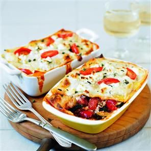 Roasted vegetable and goat's cheese lasagne recipe