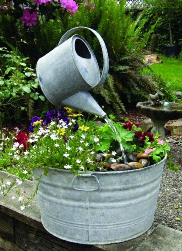 Wasserspiel Garten, Wasserspiele, Teiche, Blech, Garten Ideen, Selber  Bauen, Balkon, Pflanzen, Leben