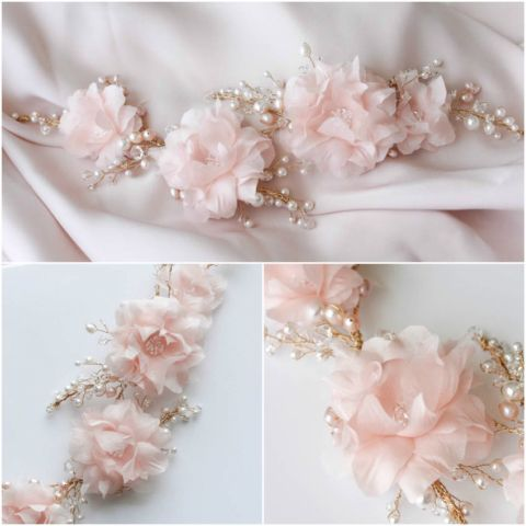 Bespoke-for-Kate_Pink-silk-flower-bridal-headpiece-with-pearls-