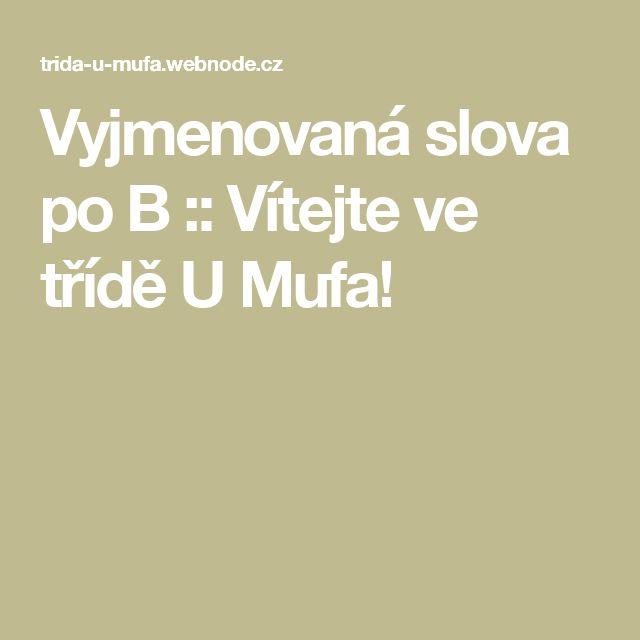 Vyjmenovaná slova po B :: Vítejte ve třídě U Mufa!