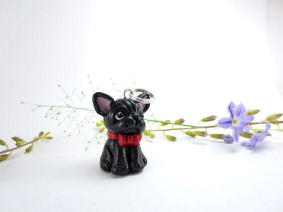 Francés Bulldog collar negro, Francés Bulldog regalos joyería colgante charm - regalo de amante de polímero arcilla miniatura animales Perro Frenchie joyería