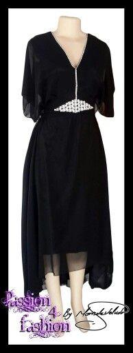 Black hi-lo chiffon mother of the bride dress with neckline and belt diamante detail. #mariselaveludo #fashion #motherofbride #passion4fashion #blackdress #blackchiffondress