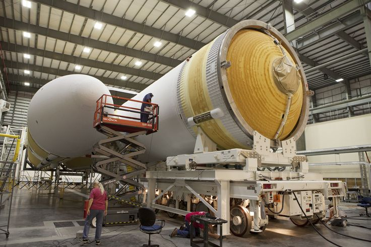 The two stages of the Delta 4 Heavy rocket that will launch NASA's Orion capsule on its first test flight  come together inside the Horizontal Integration Facility at Florida's Cape Canaveral Air Force Station in September 2014.
