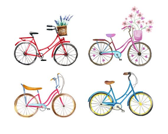 Watercolour Bicycle Set of 4 Clip Art by WatercolourClipArt