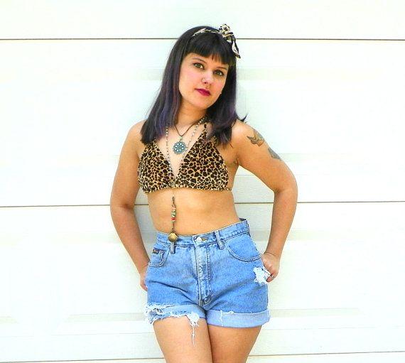 1990s Vintage Velvet Leopard Print Bikini Top by Enchantedfuture