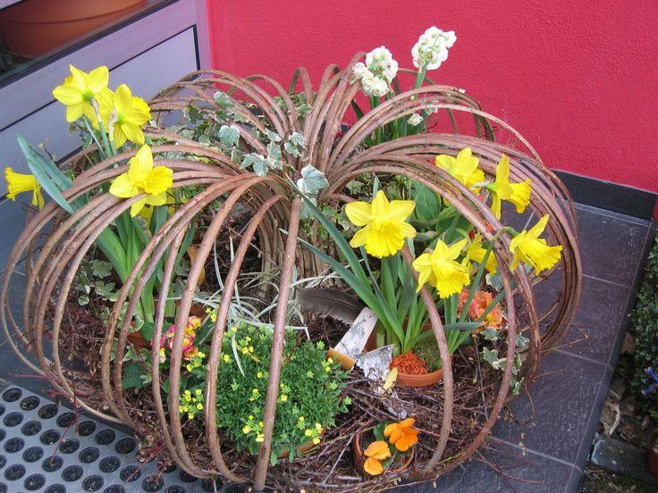 Frühlingsdeko mit Narzissen und Weide 02