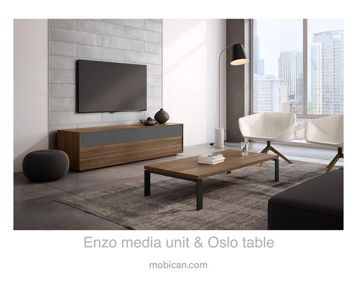 Click here to see Mobican's Enzo media unit and Oslo table. | Cliquez ici pour voir l'unité audio Enzo et la table Oslo de Mobican: http://mobican.com/en/enzo #mobican #table #livingroom #madeincanada #contemporary #wood #glass #furniture #audiounit