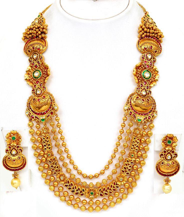 Antique Gold Necklace Set   Gold Necklace Designs for Women ...