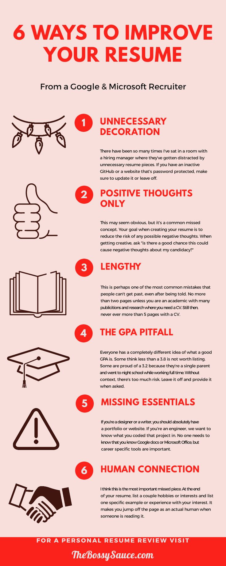 6 Ways To Improve Your Resume, Infographic by a Google