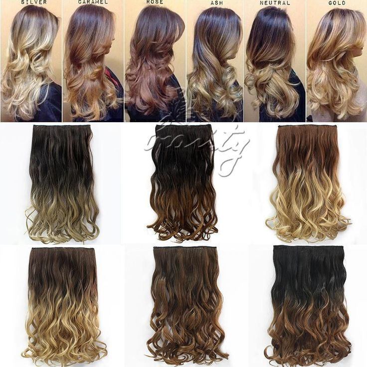 "24"" 60cm Curly Wavy Hair Extention 3/4 Full Head Clip in Hair Extensions Curly Ombre Hairpiece - Stylish n Trendier - 2"
