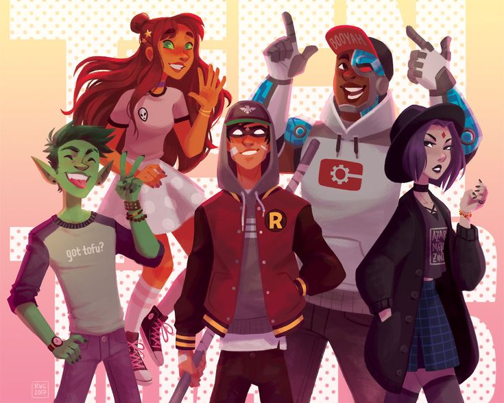 "reb-chan: ""Sorry for the radio silence, but I made a Teen Titans print for charity! Our theme this year was 90′s/00′s cartoons, and I just had to do street style TT. It was so much fun participating in this and there are so many wonderful pieces up..."