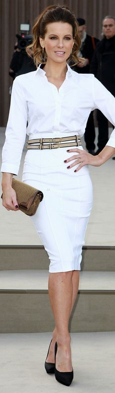 Who made  Kate Beckinsale's black pumps, clutch handbag, tan belt, white skirt, and white button down top that she wore in London on February 18, 2013?