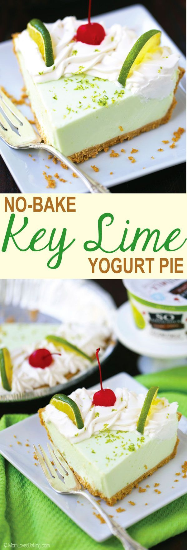 No Bake Key Lime Yogurt Pie is a delicious dairy free, gluten free alternative to the classic dessert. Get the recipe on MomLovesBaking.com. #DairyFreeGoodness #AD