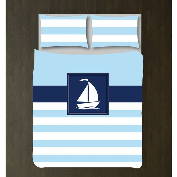 Nautical Duvet Cover w/shams-sailboat-custom Bedding Set-Aqua Navy... ($117) ❤ liked on Polyvore featuring home, bed & bath, bedding, duvet covers, home & living, silver, king duvet, twin xl bed set, full queen bed set and king duvet cover sets