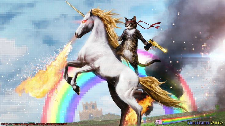The internet, in one picture.: Cats, Guns, Remember This, Funny Cat, Rainbows, Desktop Backgrounds, Funny Stuff, Internet, Unicorns