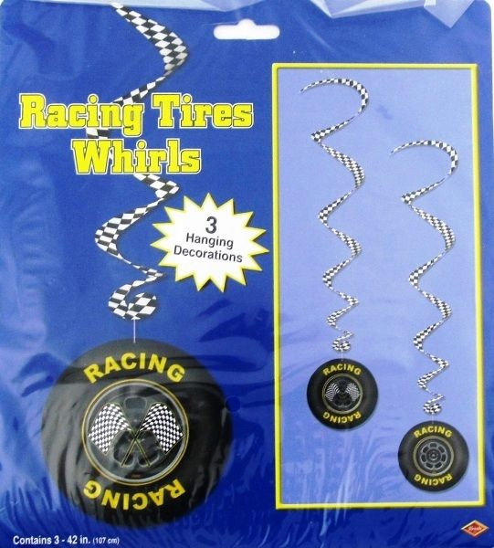 Black White Checkered Racing Tires Tyres Party Whirls - 3 Hanging Decorations