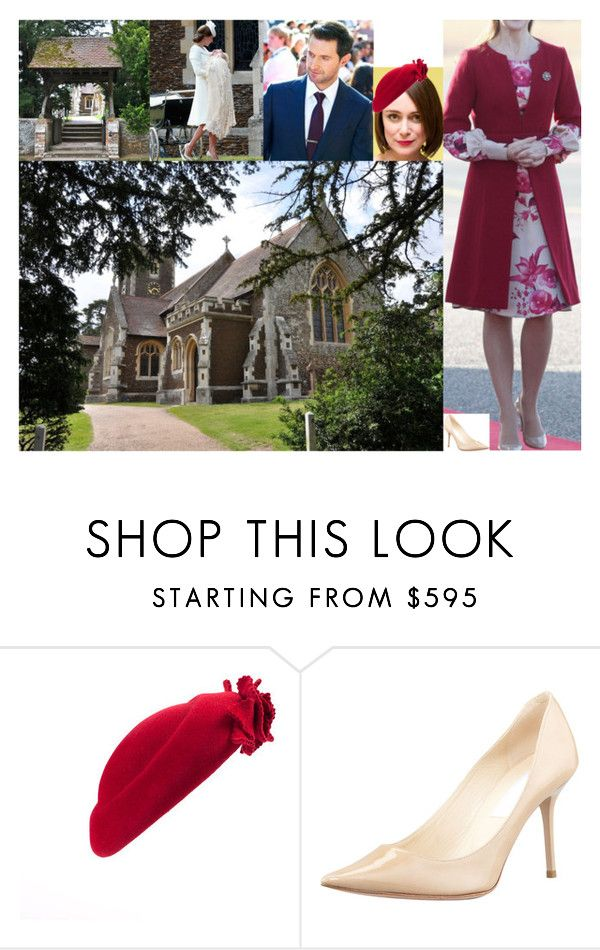 """The Earl and Countess Granville attend the christening of Alexander's godson, Prince William of Wales, at St Mary Magdalene Church"" by lady-maud ❤ liked on Polyvore featuring Jimmy Choo"