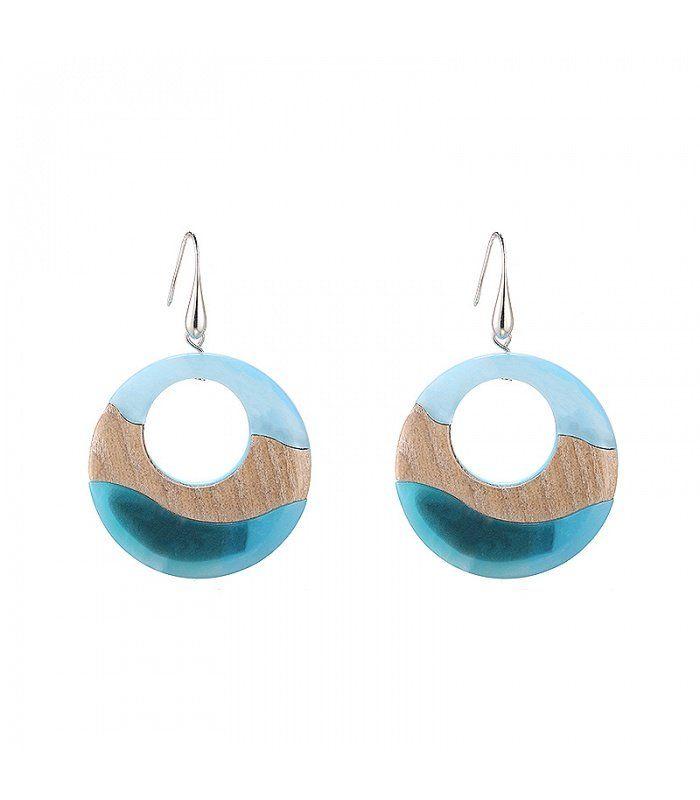 Blauwe oorbellen in de vorm van een cirkel Cirkel oorbellen koop je online   Yehwang fashion en sieraden