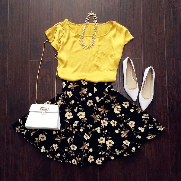 High Waisted Floral Skirt : The Art of Vintage-inspired & Cute Women's Clothing | Larmoni Teen fashion Cute Dress! Clothes Casual Outift for • teenes • movies • girls • women •. summer • fall • spring • winter • outfit ideas • dates • school • parties mint cute sexy ethnic skirt